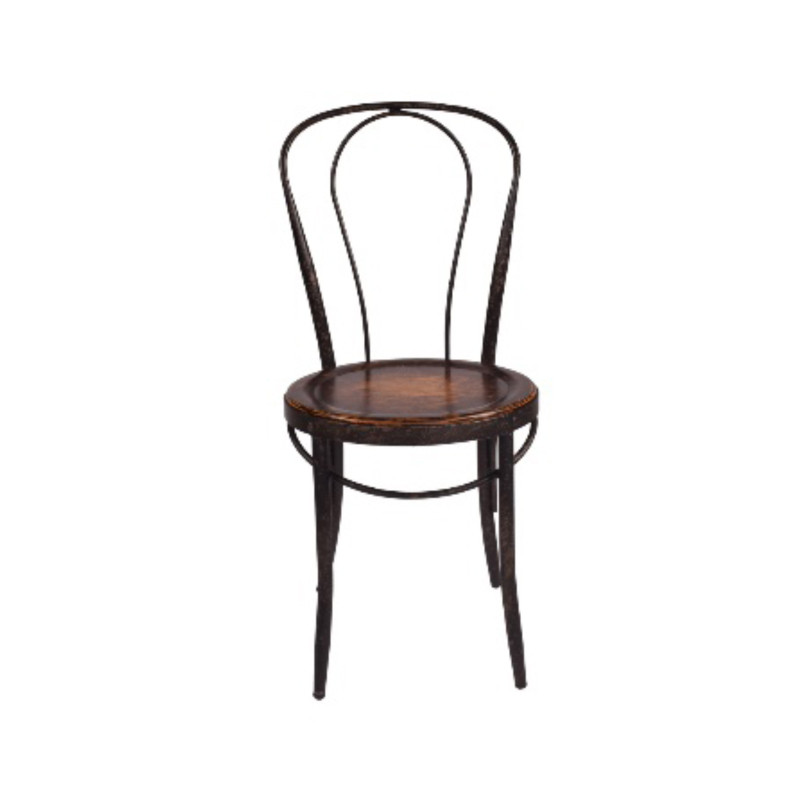 Classic bentwood Parisian Dining Chair with aged iron frame and oak seat, perfect for French Provincial or rustic design themes - front view.
