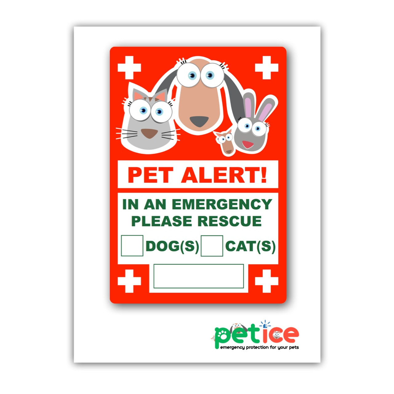 """Pet Alert Sticker - 4 Pack - 4x6 inches - """"Pets Inside"""" Safety"""
