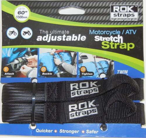 ROK Straps Motorcycle Adjustable Strap 60 x 1 inch Black