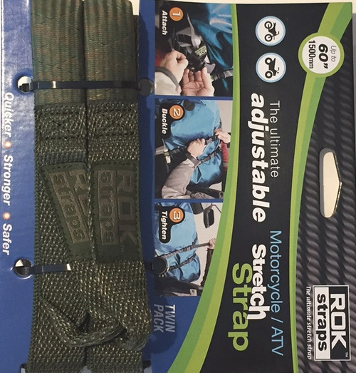 ROK Straps Motorcycle Adjustable Strap 60 x 1 inch Green Camo