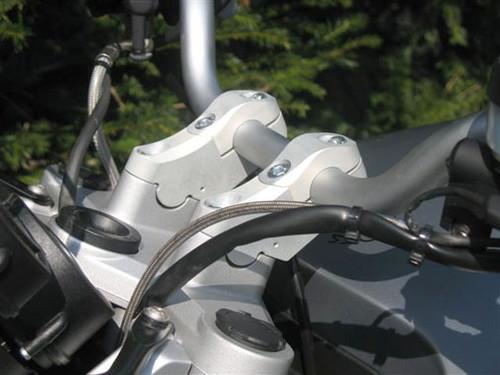 "BMW R1200R 05-10 Handlebar Riser Bar Backs moves 2"" diagonal  Silver"