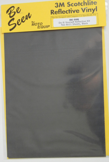 """Motorcycle BLACK Reflective Tape Kit two 8"""" x 11"""" Sheets DYI"""