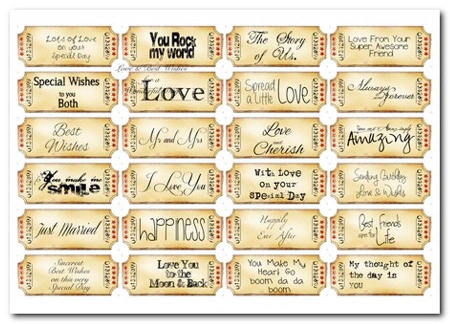 Love/Romance Love & Kisses sentiment tags - download printable digital stamp
