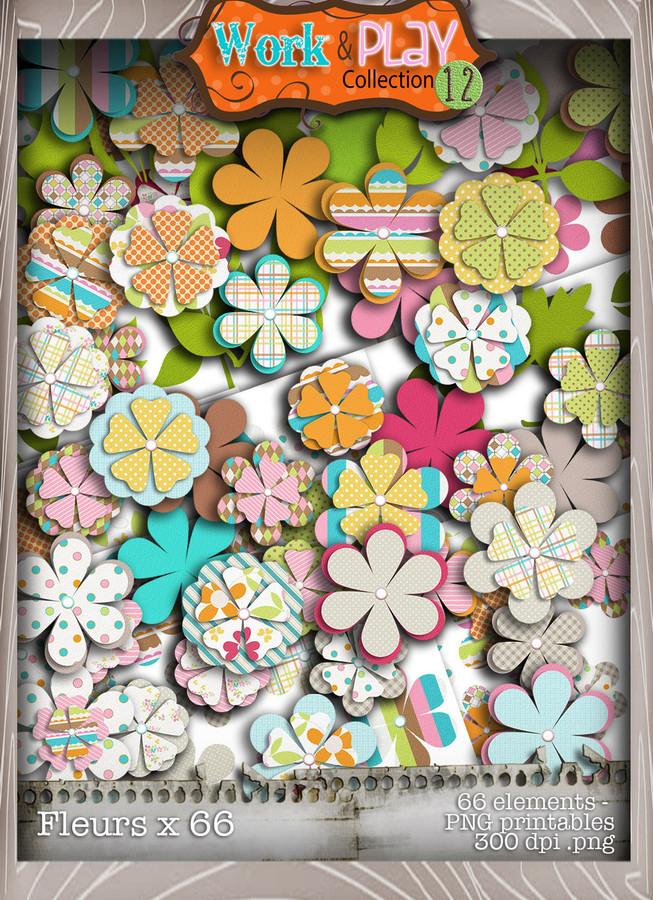 Work & Play 12 Blooms bundle kit (76 elements) - Digital Stamp CRAFT Download