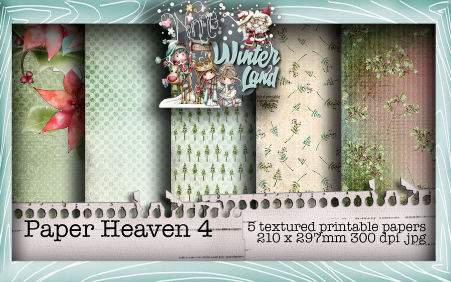 Winnie Winterland - Paper Heaven 4 digital craft papers download