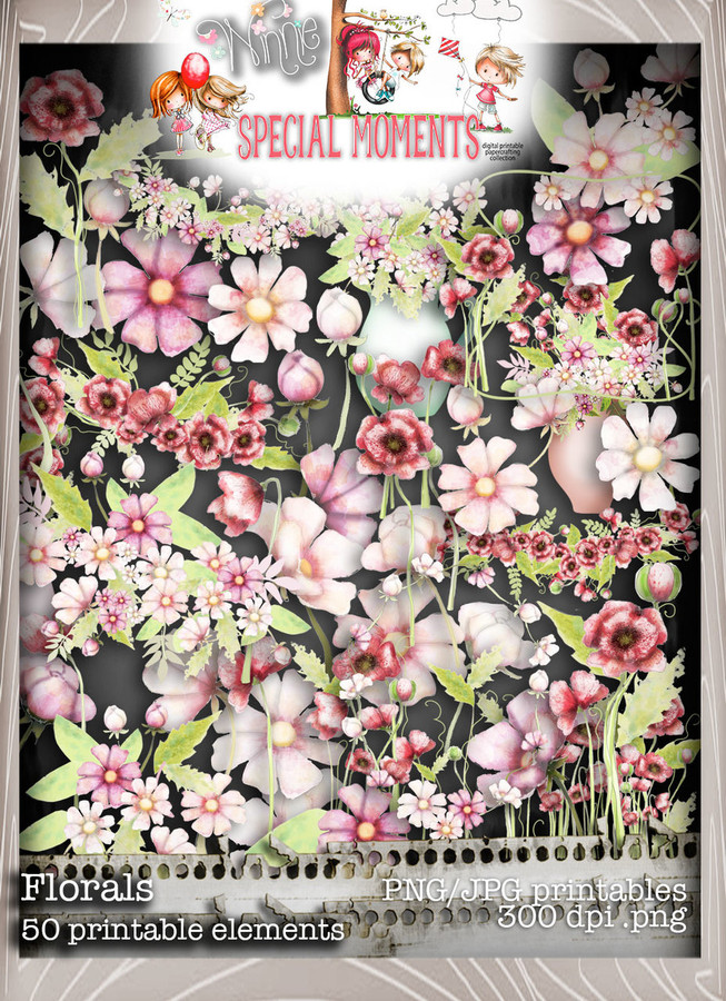 Flowers and Foliage elements Winnie Special Moments...Craft printable download digital stamps/digi scrap kit