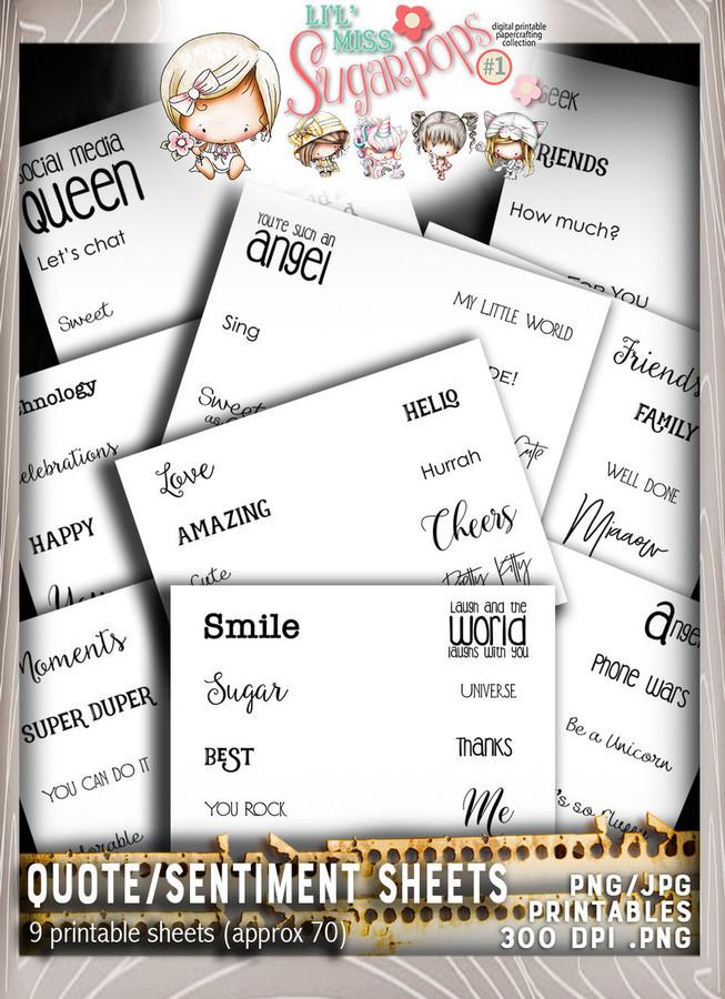 9 sheets of quotes/sentiments - Lil Miss Sugarpops Kit 1...Craft printable download digital stamps/digi scrap kit