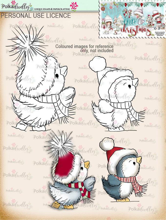 Cute Christmas Penguins Digital Stamp download - Winnie White Christmas printables...Craft printable download digital stamps/digi scrap