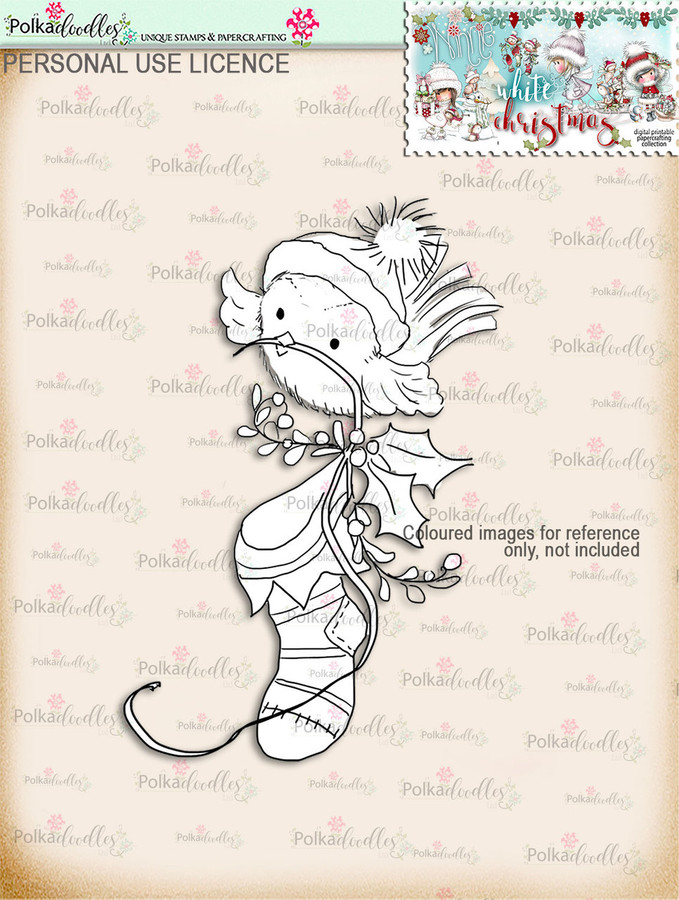 Cute Robin Stocking Digital Stamp download - Winnie White Christmas printables...Craft printable download digital stamps/digi scrap