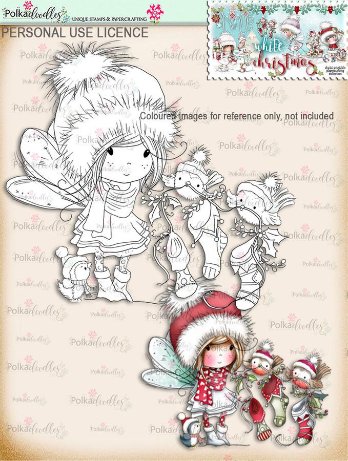 Robin Stocking Friends  - Digital Stamp download. Winnie White Christmas printables.Craft printable download digital stamps/digi scrap