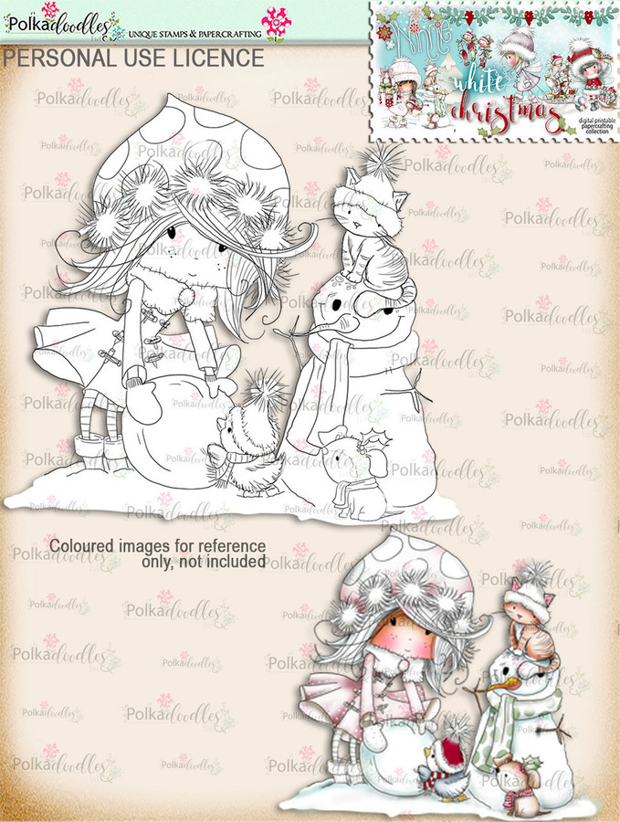 Snowman Friends - Digital Stamp download. Winnie White Christmas printables.Craft printable download digital stamps/digi scrap