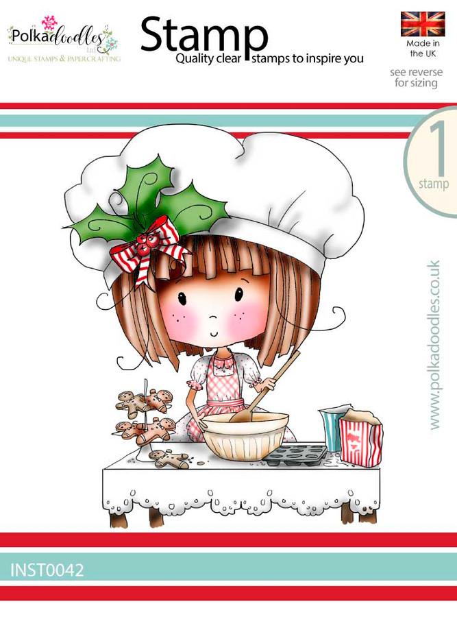 Winnie Baking Gingerbread - Winnie White Christmas Clear Polymer Stamp.