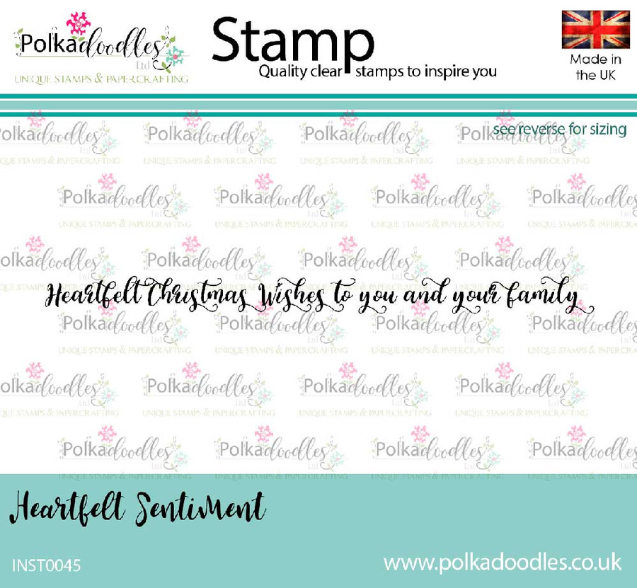 Heartfelt Christmas Wishes to you and your Family - clear polymer Christmas stamp