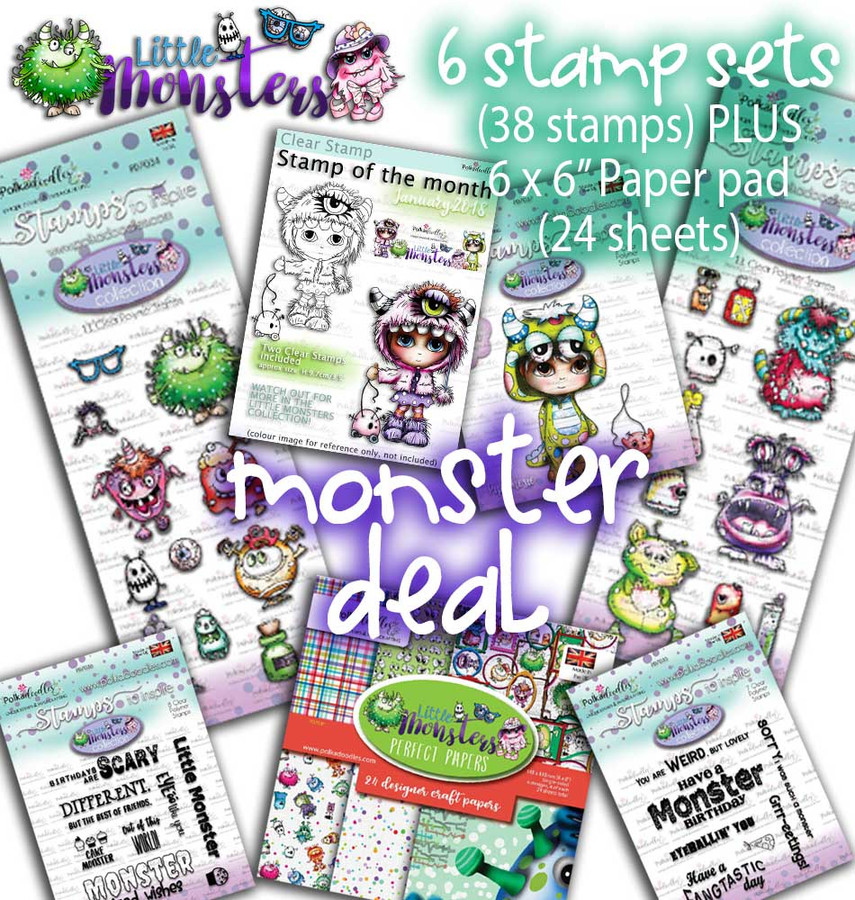 Monster Deal Top Banana bundle...Little Monsters big bundle Clear Stamps and Papers