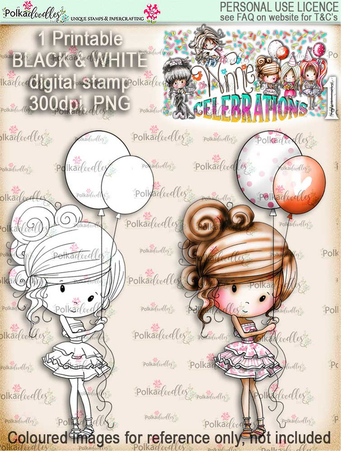 Winnie Celebrations 1... Party Time digi stamp printable download