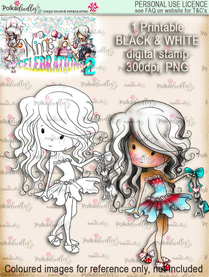 Winnie Celebrations 2...Key to the Door/New Home/New Car black & white digi stamp printable download
