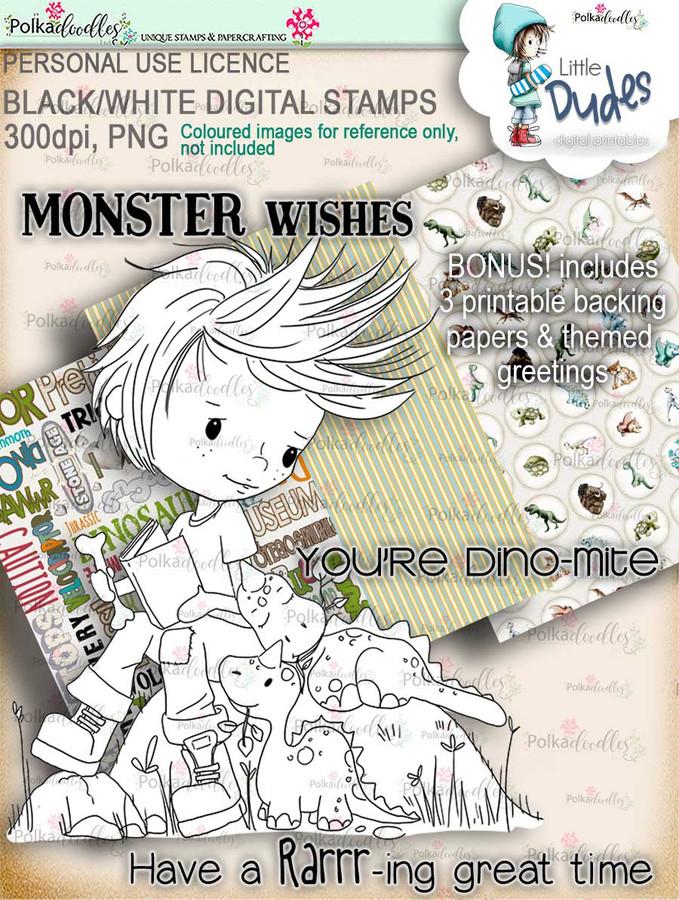 Dino Mite Little Dude - digi stamp printable download