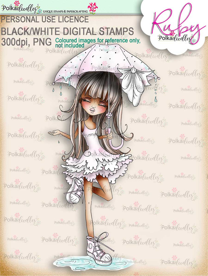 Ruby Raindrop Umbrella - precoloured digi stamp download