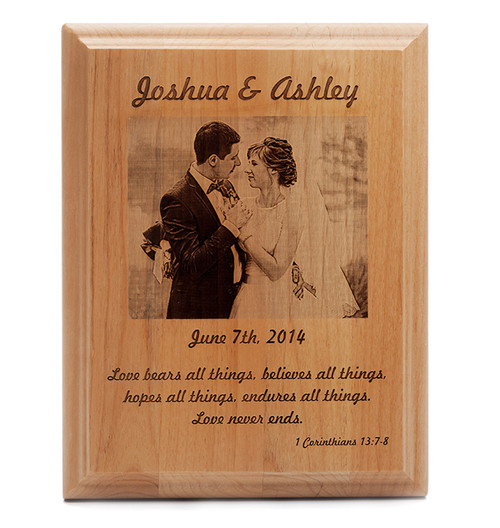 Custom Engraved Wedding Photo Plaque Natural Wood