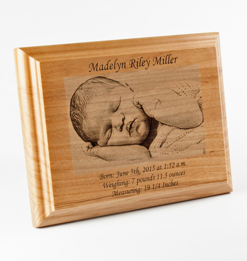 custom engraved special occasion photo plaque natural wood