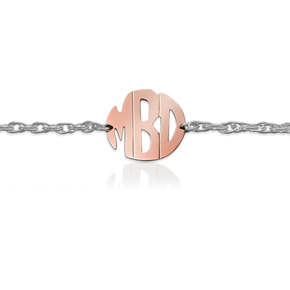 Gold Block Monogram on Sterling Silver Bracelet