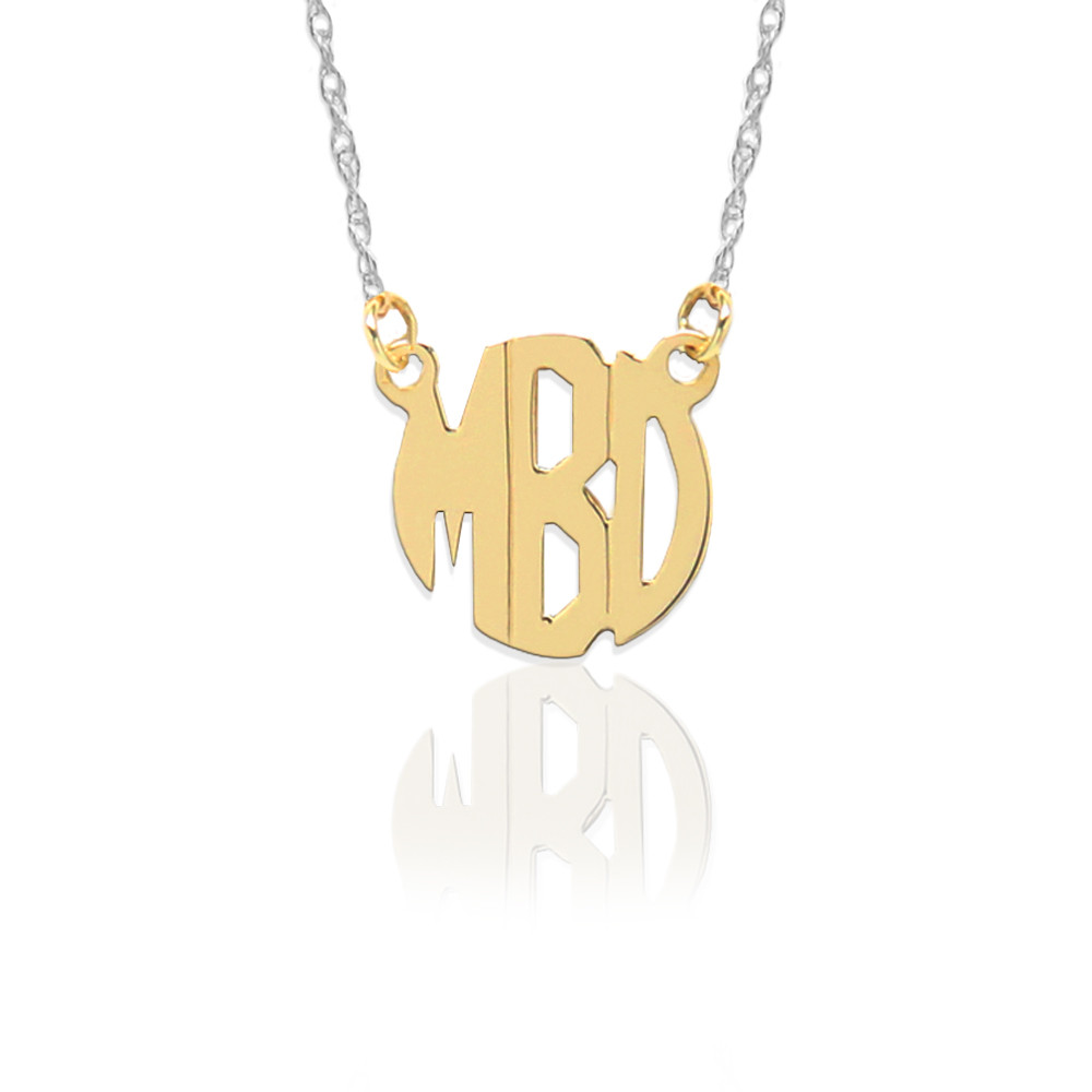 Gold Block Monogram on Sterling Silver Necklace