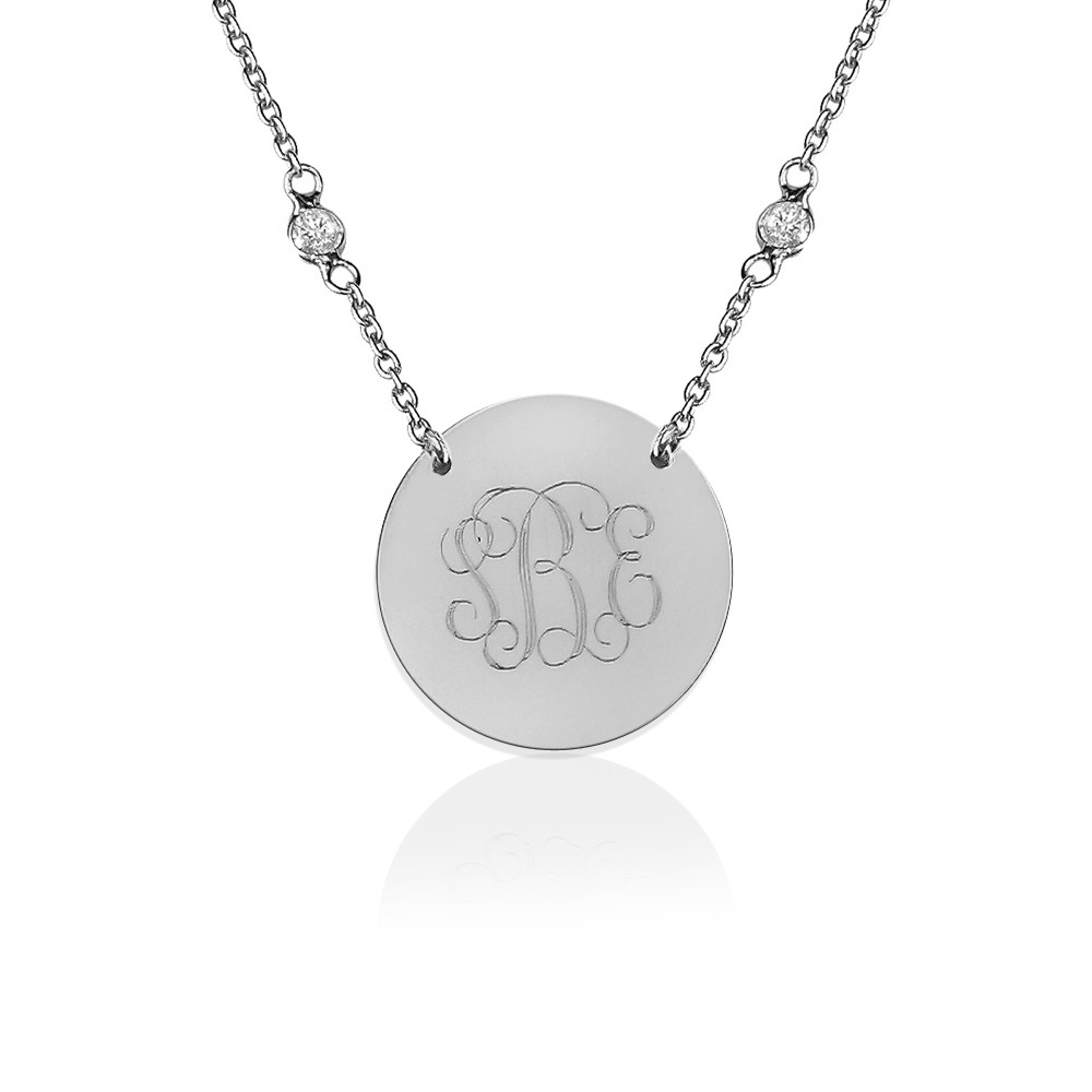 Engraved Monogram on CZ Chain