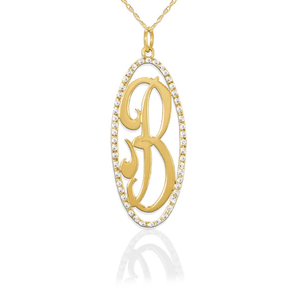 JBD309 14K Gold Oval Diamond Pendant