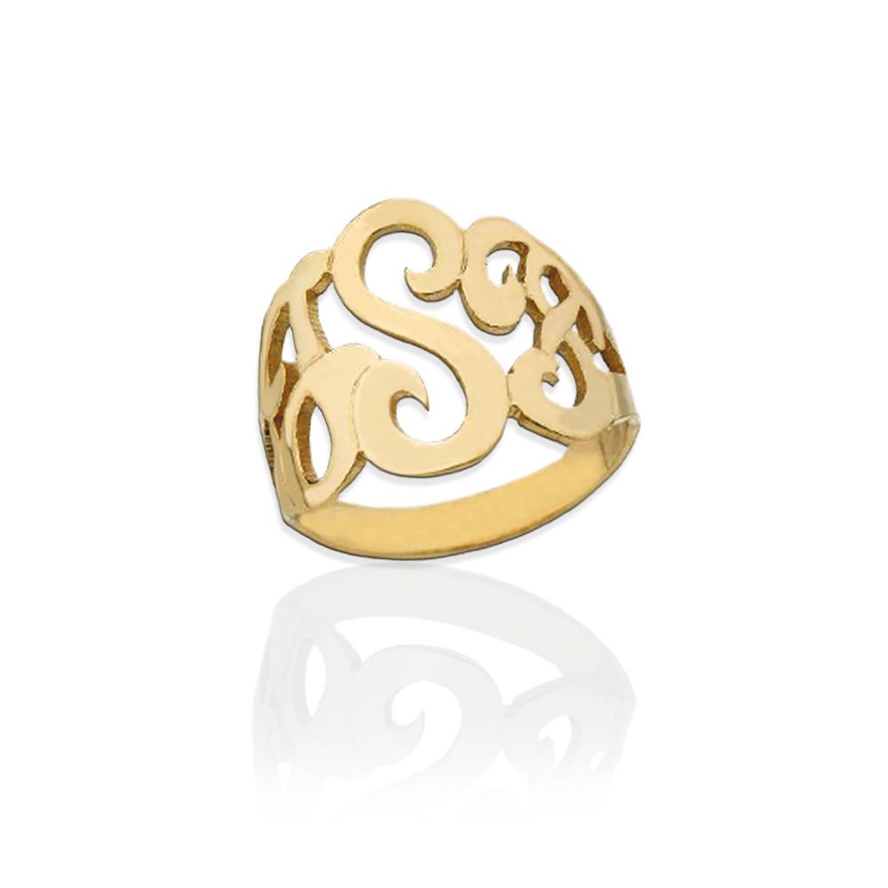 Gold Lucky Signet Monogram Ring