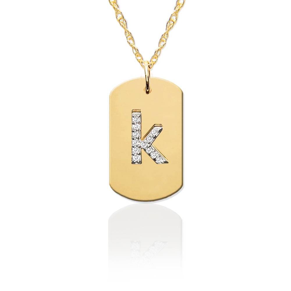 Gold Dog Tag with Diamond Initial