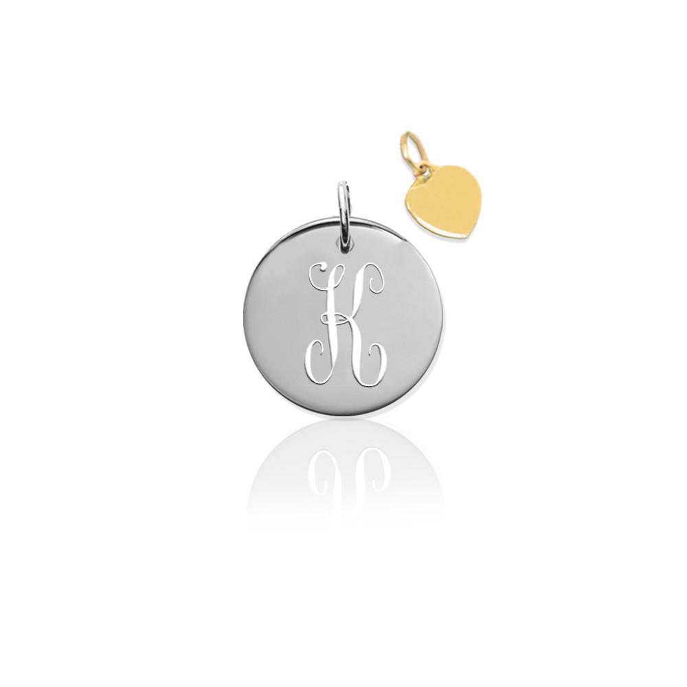 14K Pierced Disc Initial Charm w Gold Heart (no chain)