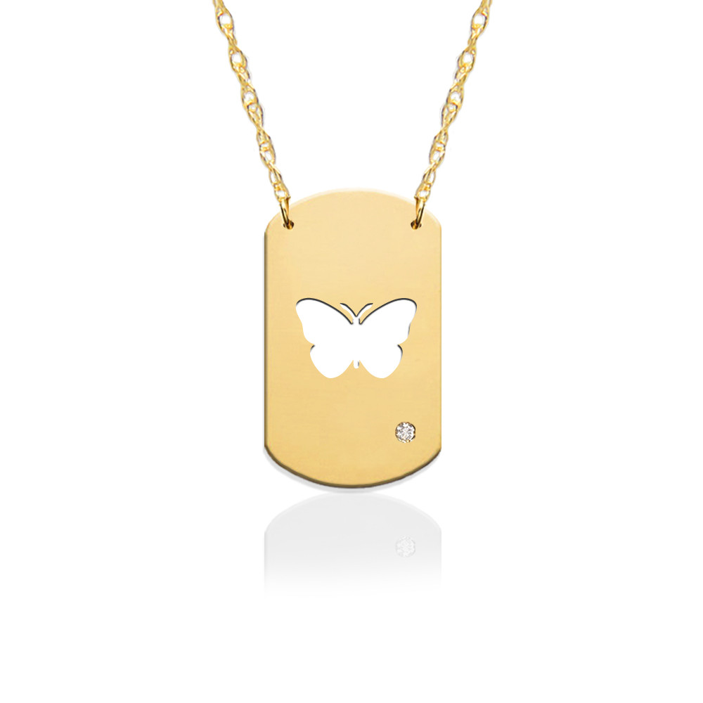 "3/4"" Butterfly Dog Tag Icon w Diamond Accent"