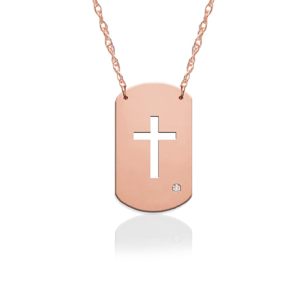 "3/4"" Cross Dog Tag Icon w Diamond Accent"