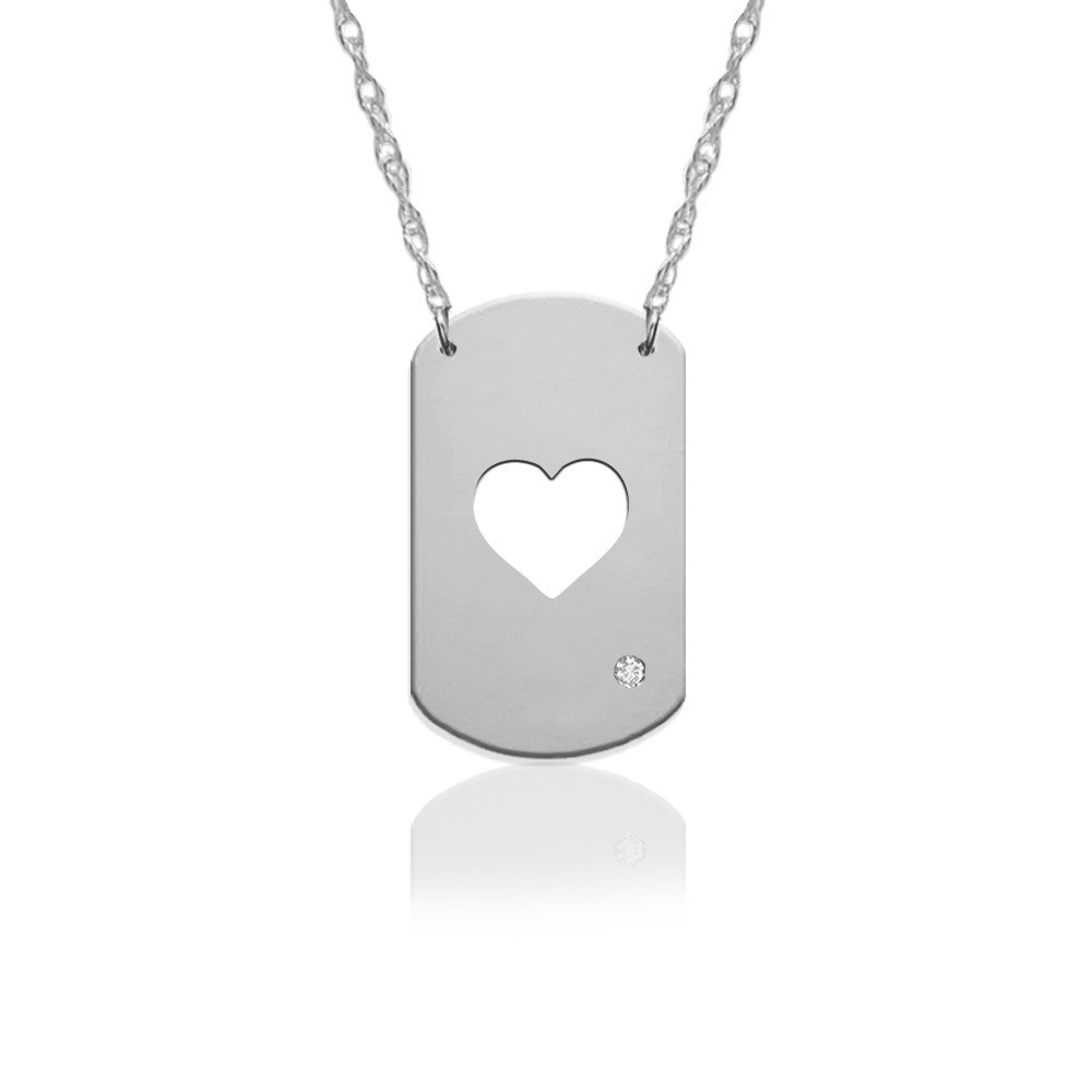 "3/4"" Heart Dog Tag Icon w Diamond Accent"