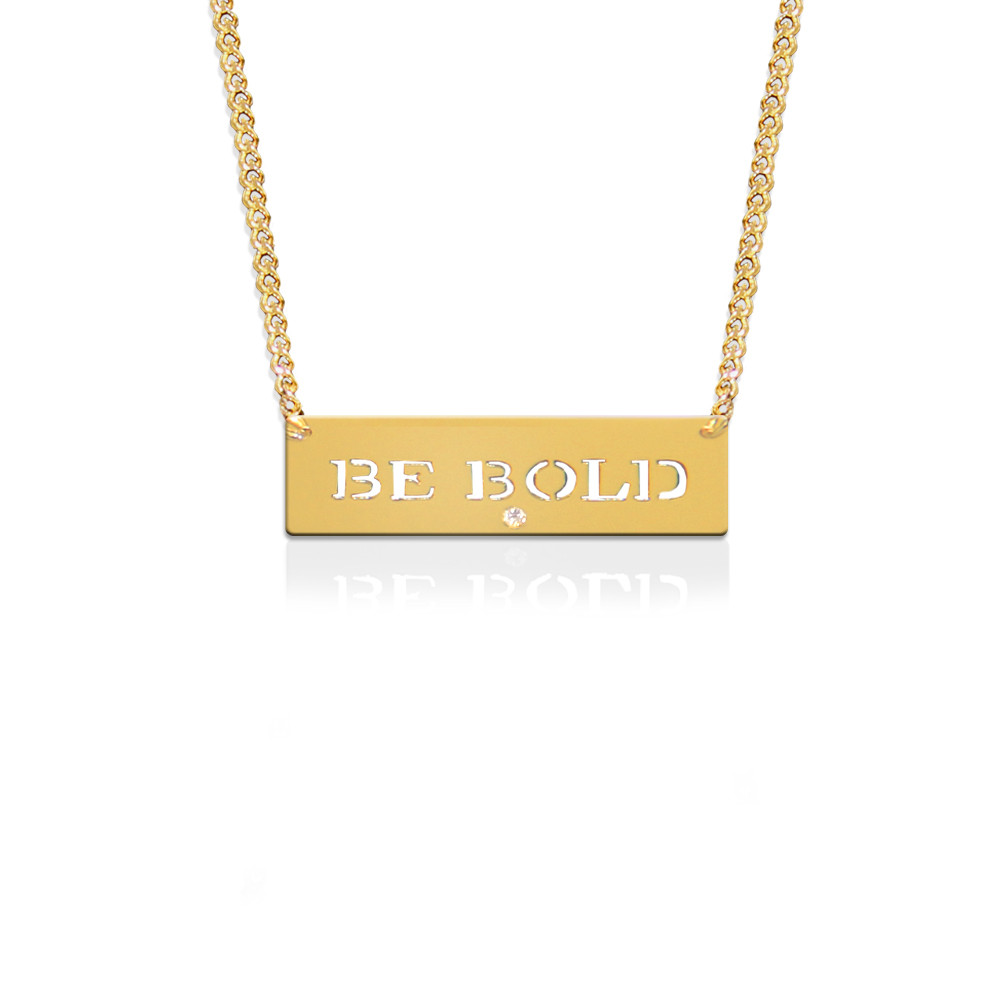 """Be Bold"" Empowerment Pendant with Diamond Accent"