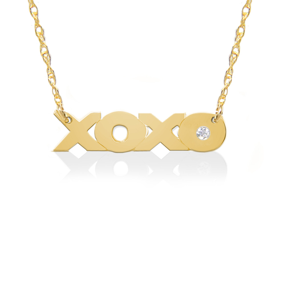 XOXO in 22K Gold over .925 Sterling Silver