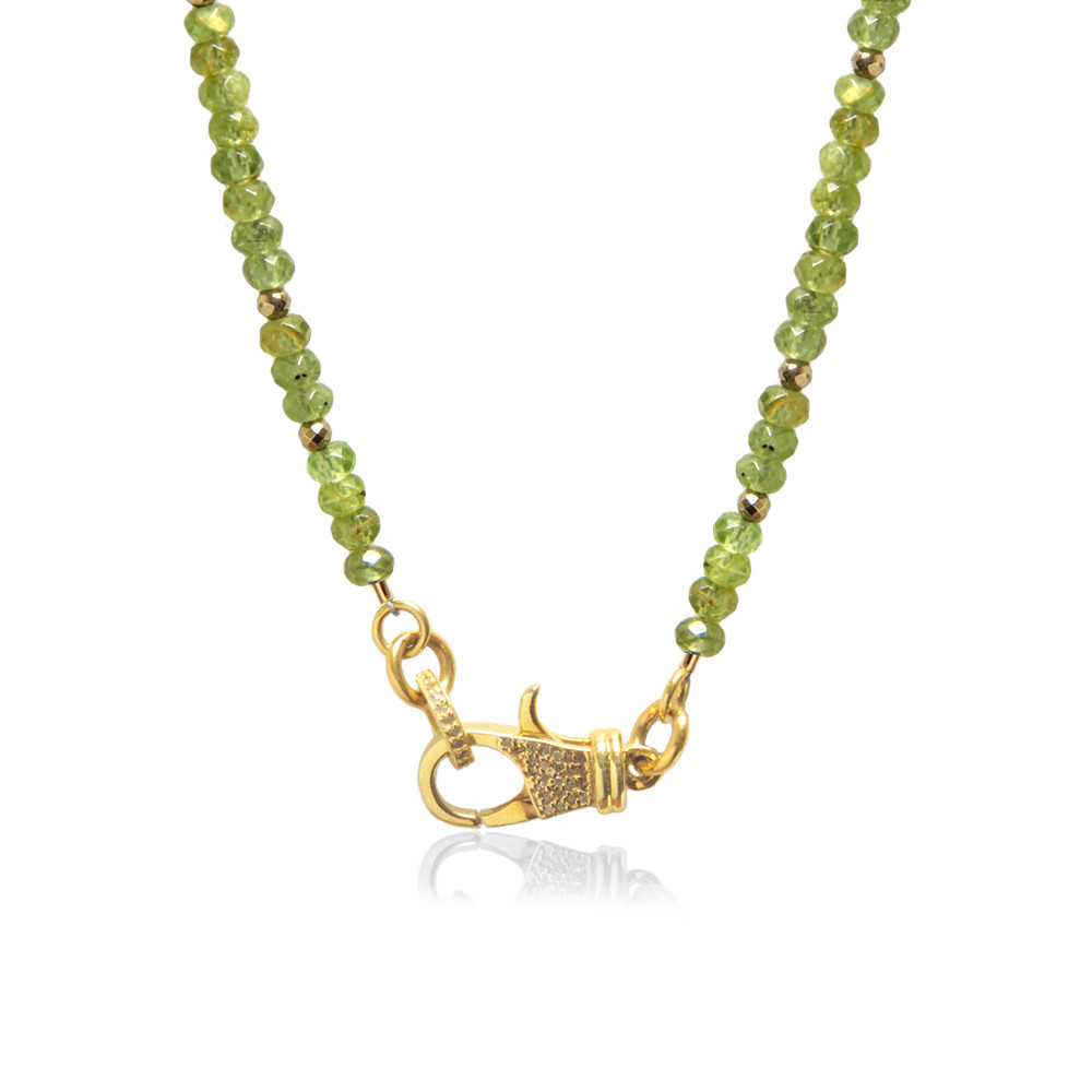 22K Gold over Sterling Silver Diamond Lock on Peridot Beaded Chain