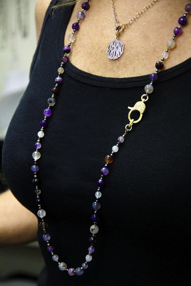 "Wear It 3 Ways 36"" Marine Agate & Pavé Diamond Lock Necklace"