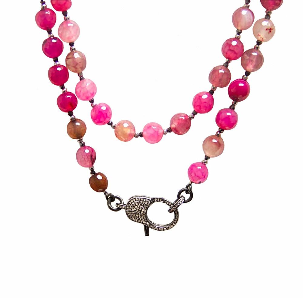 "Wear It 3 Ways 36"" Romantic Agate & Pavé Diamond Lock Necklace"