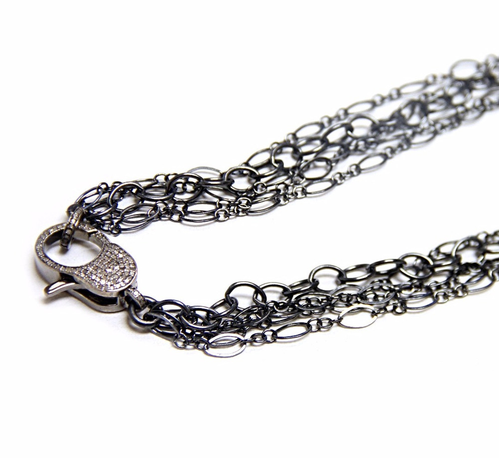 Multi-Strand Black Diamond Oxidized Sterling Silver Chain With Diamond Lock