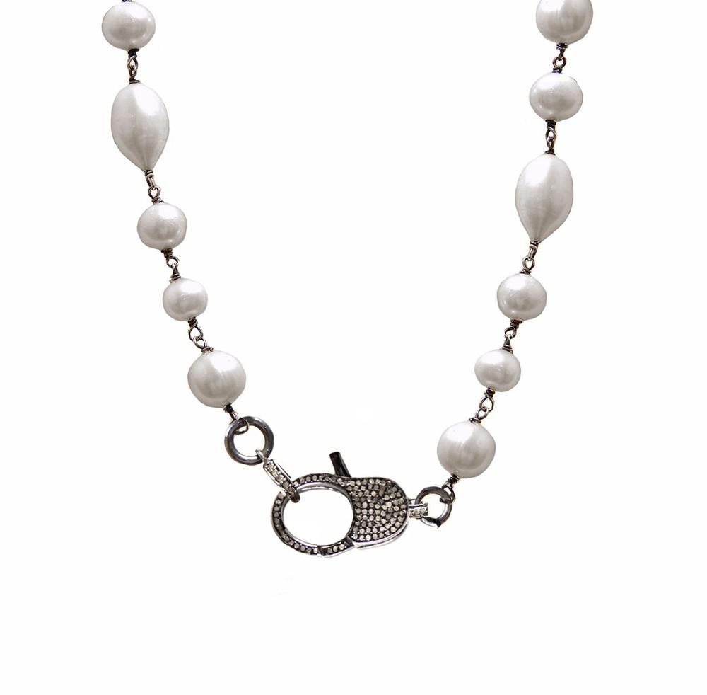 Oxidized Sterling Silver Pavé Diamond Lock & Grey Pearl Necklace
