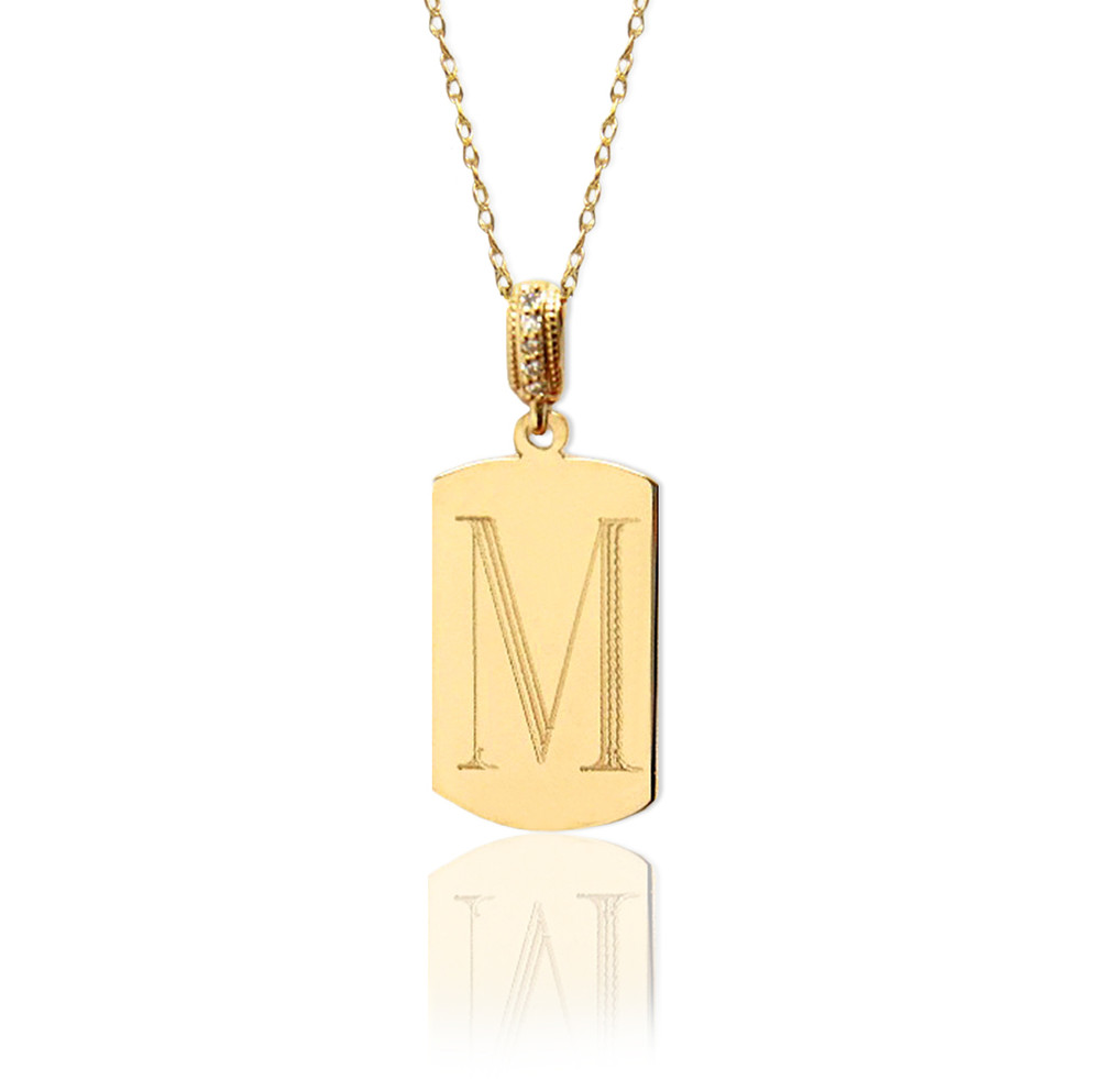 14K Gold Block Initial Dogtag With Diamond Bale