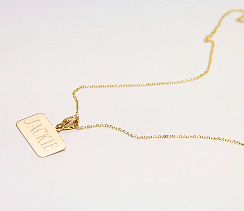 14K Gold Name Tag With Diamond Bale