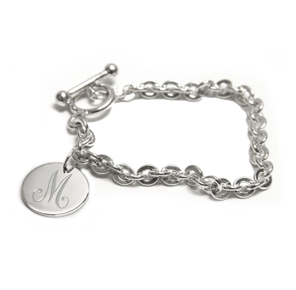 Sterling Silver Initial Disc Locket Bracelet
