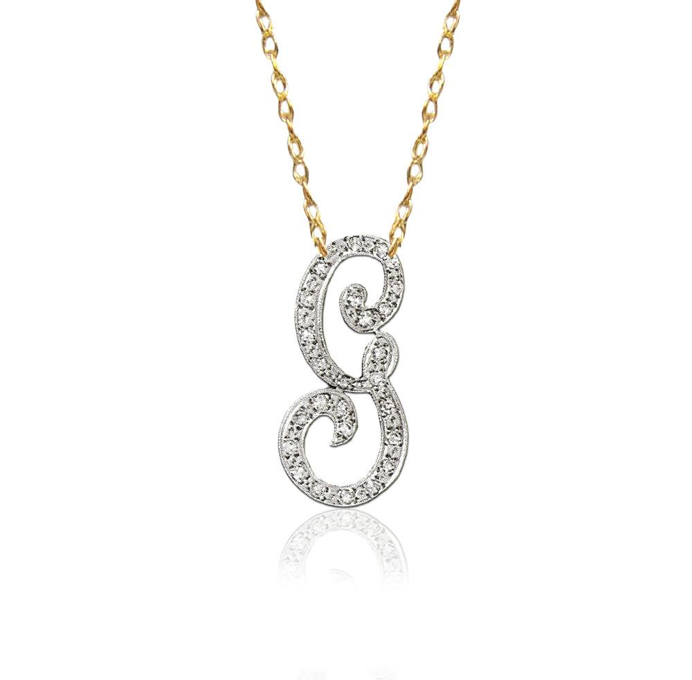 14K Gold Diamond Script Initial Necklace