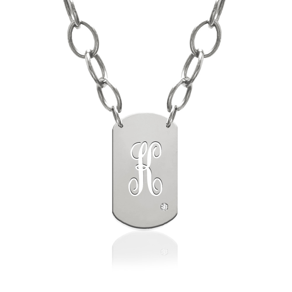Script Initial Dog Tag Charm with Diamond Accent
