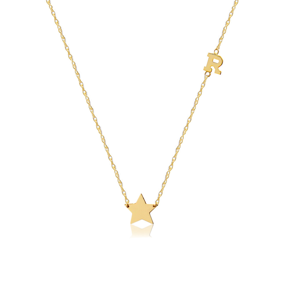 14K Gold Star Charm and Initial Necklace