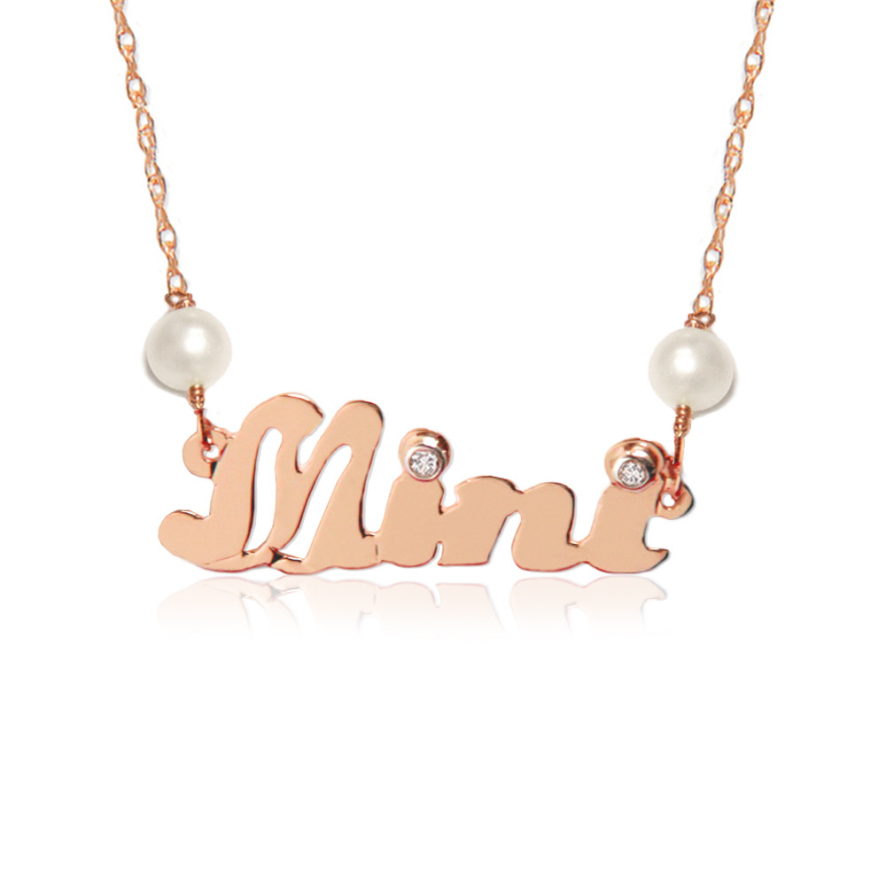 14K Gold Diamond and Pearl Nameplate Necklace