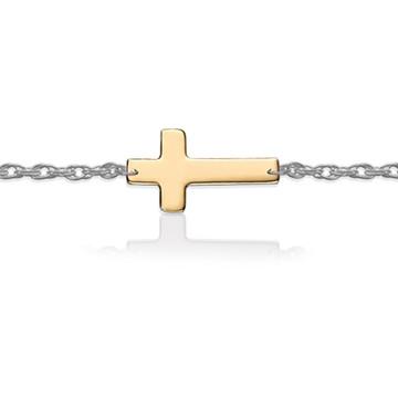 Gold Cross on Sterling Silver Bracelet