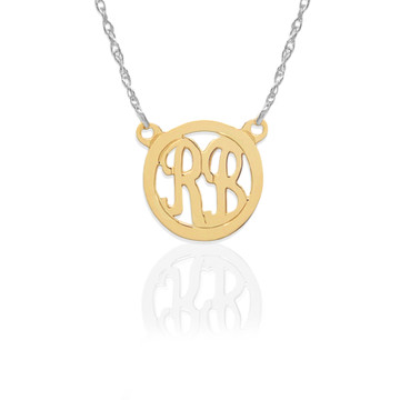 Gold 2 Initial Circle on Sterling Silver Necklace
